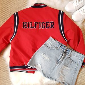 Tommy Hilfiger Varsity Red Bomber Zip Up Jacket L